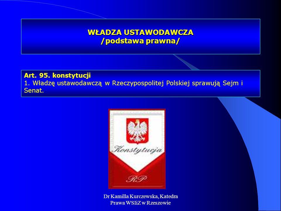 Dr Kamilla Kurczewska, Katedra Prawa WSIiZ w Rzeszowie WŁADZA USTAWODAWCZA /podstawa prawna/ Art. 95. konstytucji 1. Władzę ustawodawczą w Rzeczypospo