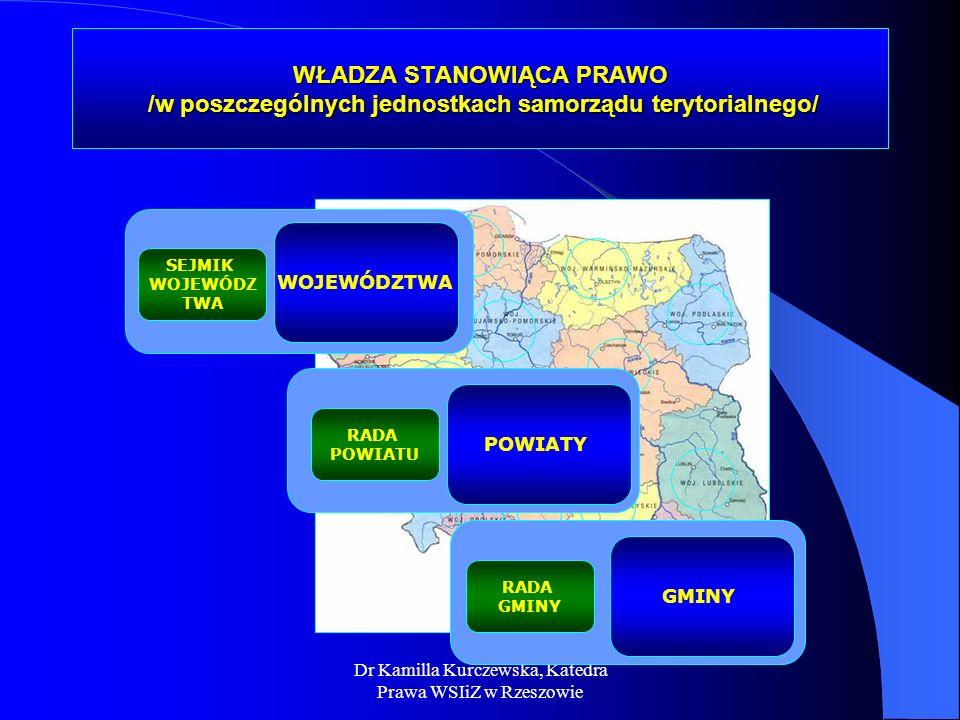 Dr Kamilla Kurczewska, Katedra Prawa WSIiZ w Rzeszowie WŁADZA STANOWIĄCA PRAWO /w poszczególnych jednostkach samorządu terytorialnego/ WOJEWÓDZTWA POW