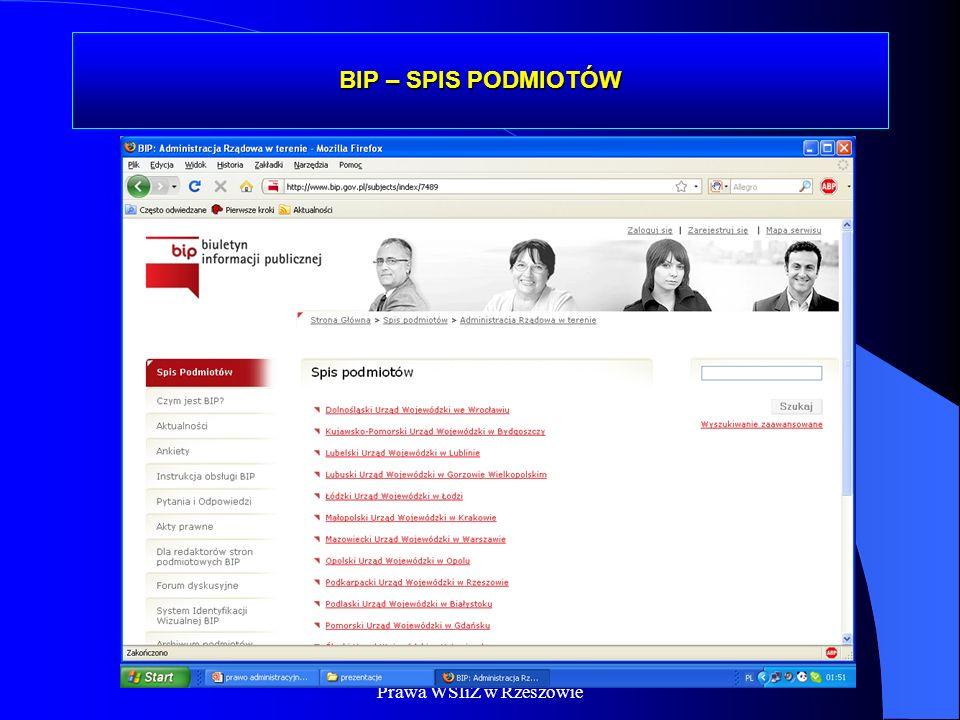 Dr Kamilla Kurczewska, Katedra Prawa WSIiZ w Rzeszowie BIP – SPIS PODMIOTÓW