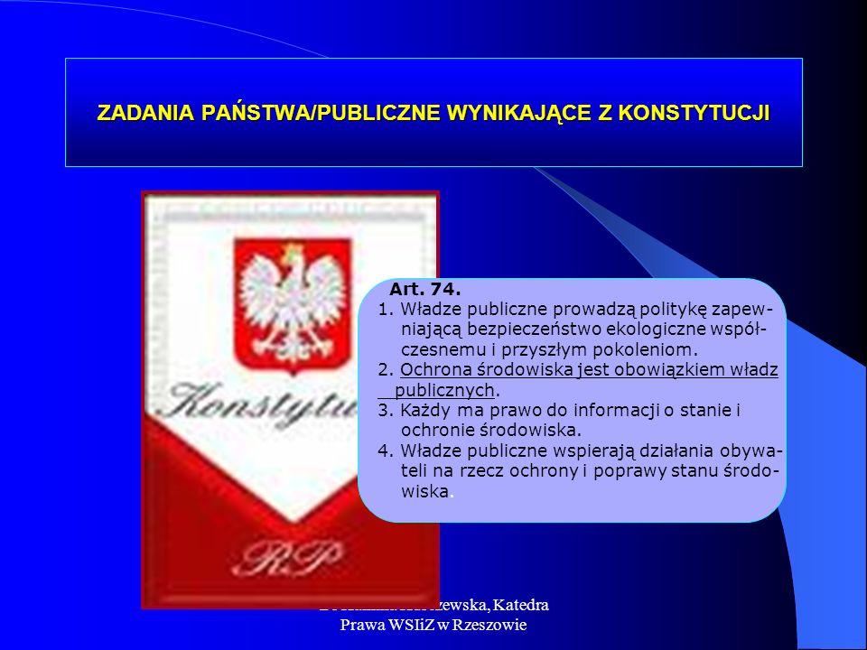Dr Kamilla Kurczewska, Katedra Prawa WSIiZ w Rzeszowie ZADANIA PAŃSTWA/PUBLICZNE WYNIKAJĄCE Z KONSTYTUCJI Art. 74. 1. Władze publiczne prowadzą polity