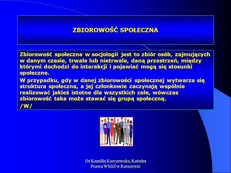 Dr Kamilla Kurczewska, Katedra Prawa WSIiZ w Rzeszowie ZBIOROWOŚĆ SPOŁECZNA Zbiorowość społeczna w socjologii jest to zbiór osób, zajmujących w danym