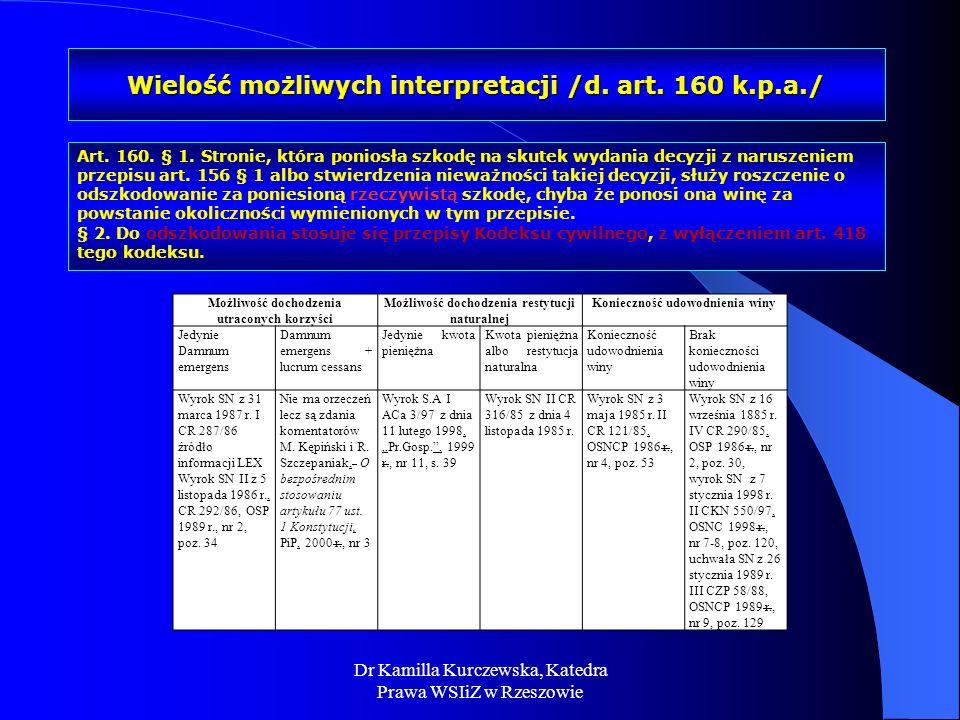 Dr Kamilla Kurczewska, Katedra Prawa WSIiZ w Rzeszowie Wielość możliwych interpretacji /d. art. 160 k.p.a./ Możliwość dochodzenia utraconych korzyści