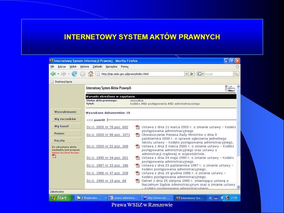 Dr Kamilla Kurczewska, Katedra Prawa WSIiZ w Rzeszowie INTERNETOWY SYSTEM AKTÓW PRAWNYCH