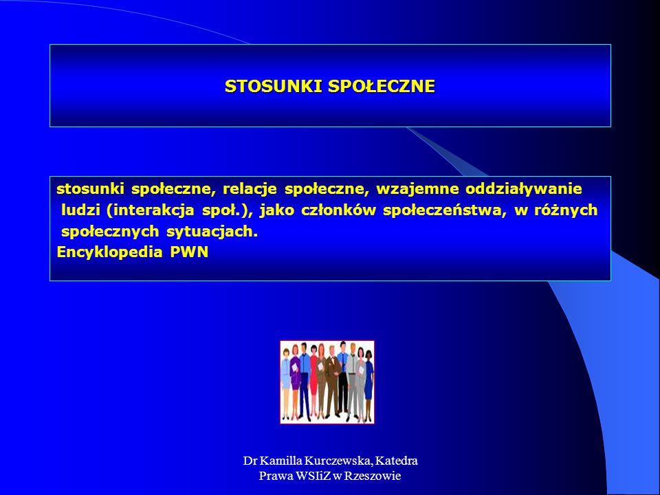 Dr Kamilla Kurczewska, Katedra Prawa WSIiZ w Rzeszowie STOSUNKI SPOŁECZNE stosunki społeczne, relacje społeczne, wzajemne oddziaływanie ludzi (interak