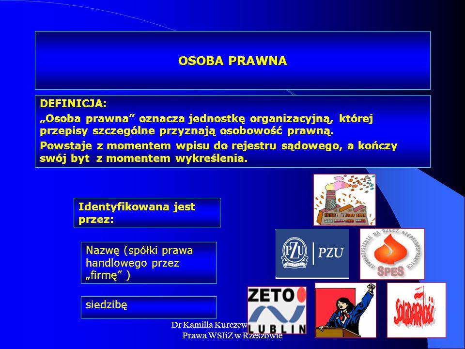 Dr Kamilla Kurczewska, Katedra Prawa WSIiZ w Rzeszowie OSOBA PRAWNA DEFINICJA: Osoba prawna oznacza jednostkę organizacyjną, której przepisy szczególn