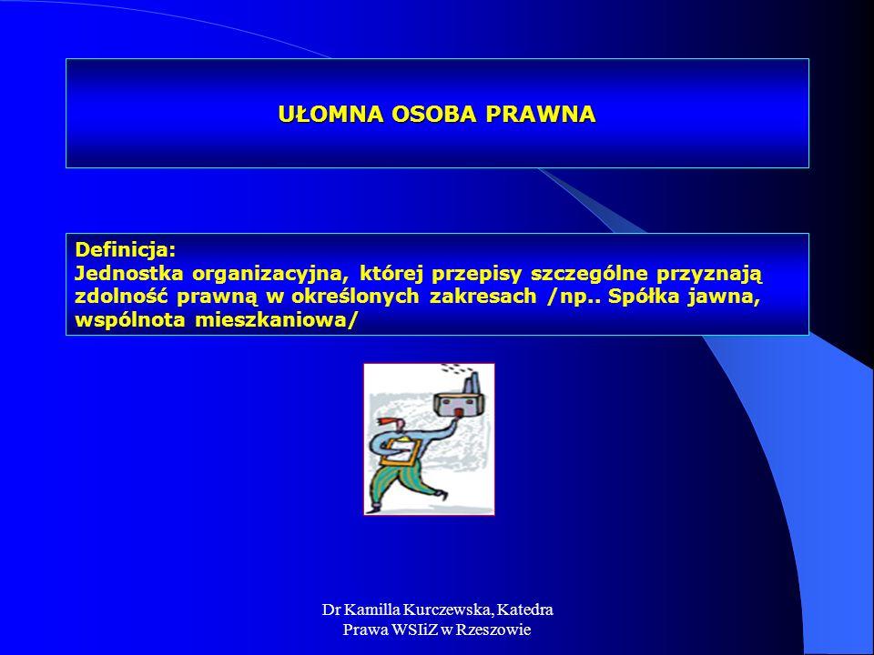 Dr Kamilla Kurczewska, Katedra Prawa WSIiZ w Rzeszowie UŁOMNA OSOBA PRAWNA Definicja: Jednostka organizacyjna, której przepisy szczególne przyznają zd