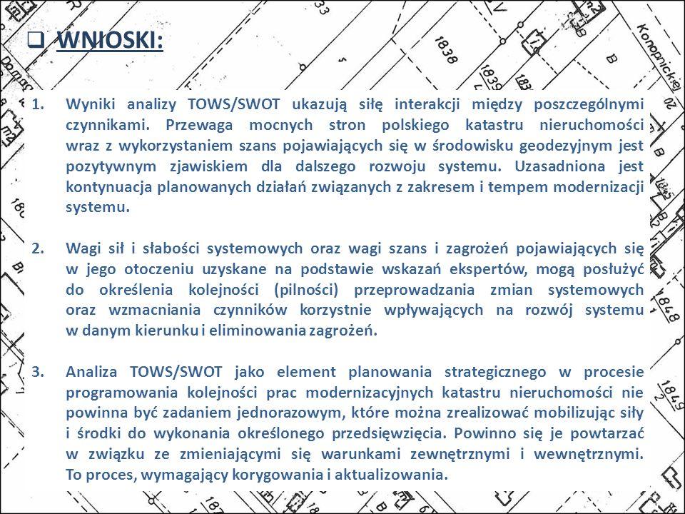 WNIOSKI: 1.Wyniki analizy TOWS/SWOT ukazują siłę interakcji między poszczególnymi czynnikami. Przewaga mocnych stron polskiego katastru nieruchomości