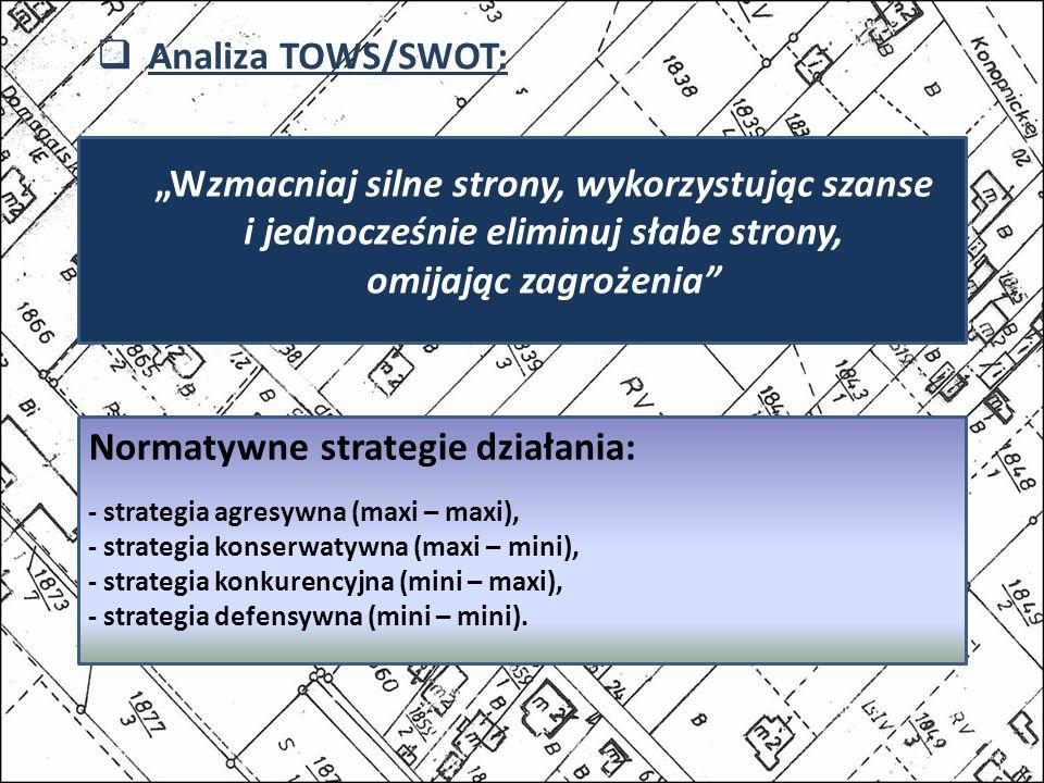 Normatywne strategie działania: - strategia agresywna (maxi – maxi), - strategia konserwatywna (maxi – mini), - strategia konkurencyjna (mini – maxi), - strategia defensywna (mini – mini).