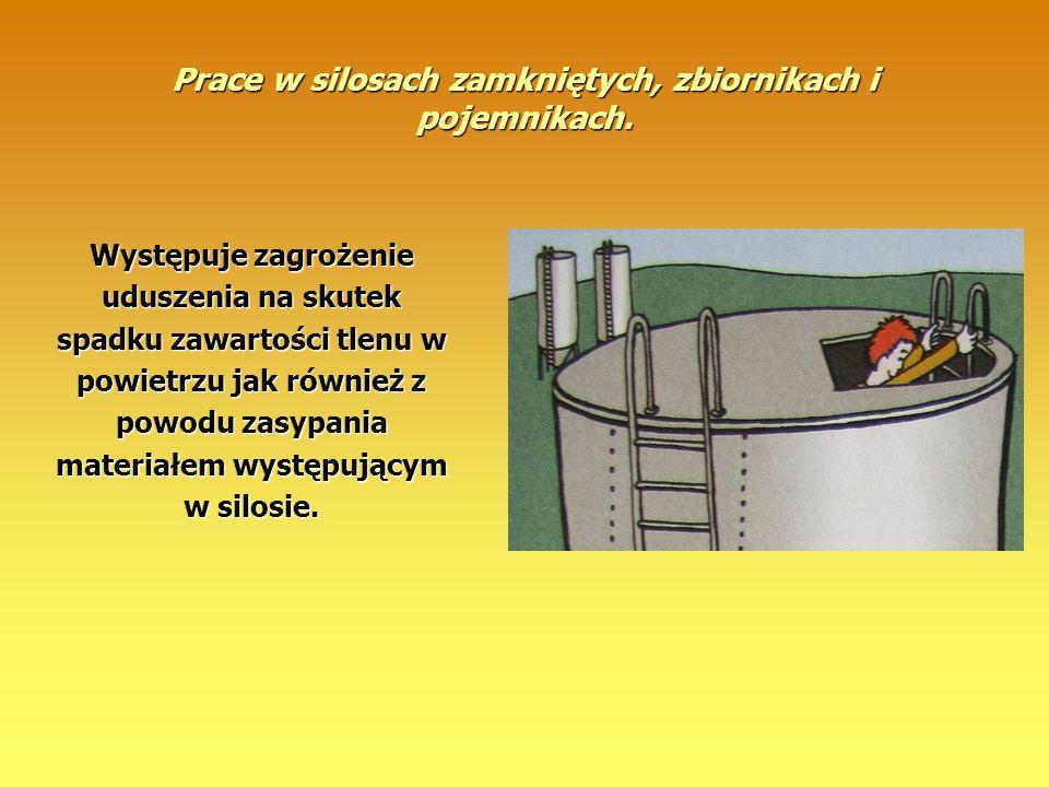 Prace w silosach zamkniętych, zbiornikach i pojemnikach. Występuje zagrożenie uduszenia na skutek spadku zawartości tlenu w powietrzu jak również z po