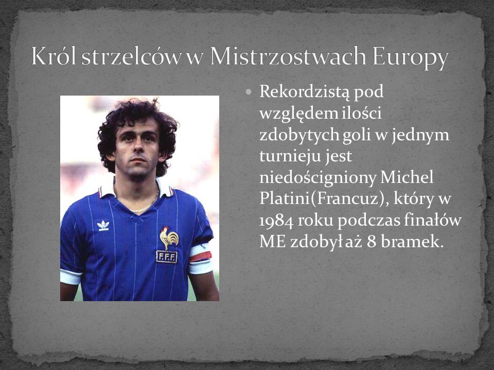 Rekordzistą pod względem ilości zdobytych goli w jednym turnieju jest niedościgniony Michel Platini(Francuz), który w 1984 roku podczas finałów ME zdo