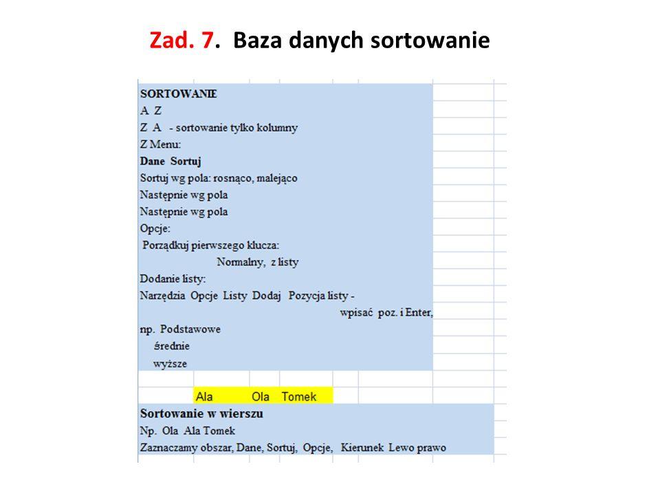 Zad. 7. Baza danych sortowanie