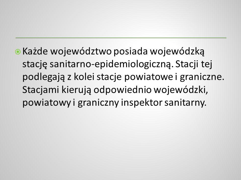 Każde województwo posiada wojewódzką stację sanitarno-epidemiologiczną. Stacji tej podlegają z kolei stacje powiatowe i graniczne. Stacjami kierują od
