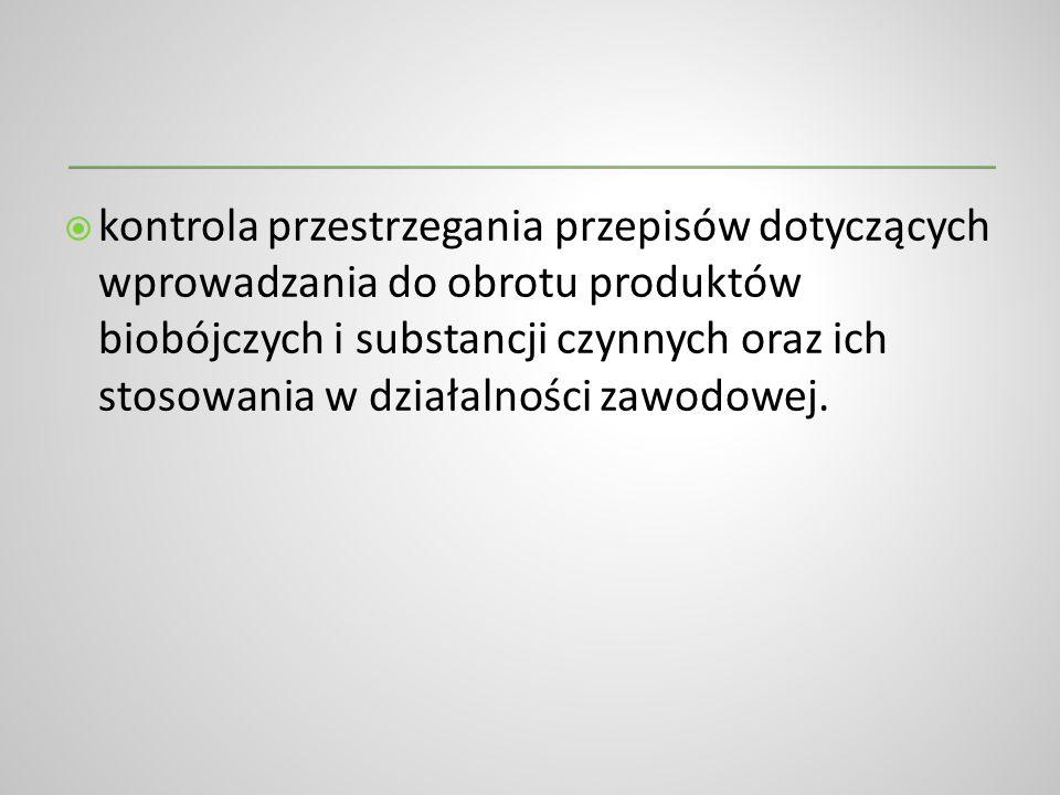 kontrola przestrzegania przepisów dotyczących wprowadzania do obrotu produktów biobójczych i substancji czynnych oraz ich stosowania w działalności za
