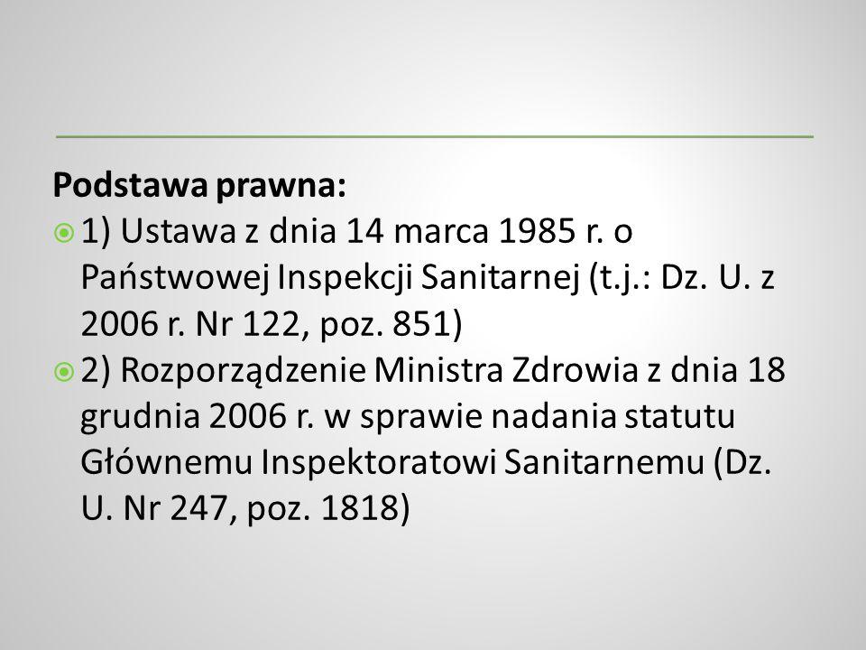 Podstawa prawna: 1) Ustawa z dnia 14 marca 1985 r. o Państwowej Inspekcji Sanitarnej (t.j.: Dz. U. z 2006 r. Nr 122, poz. 851) 2) Rozporządzenie Minis