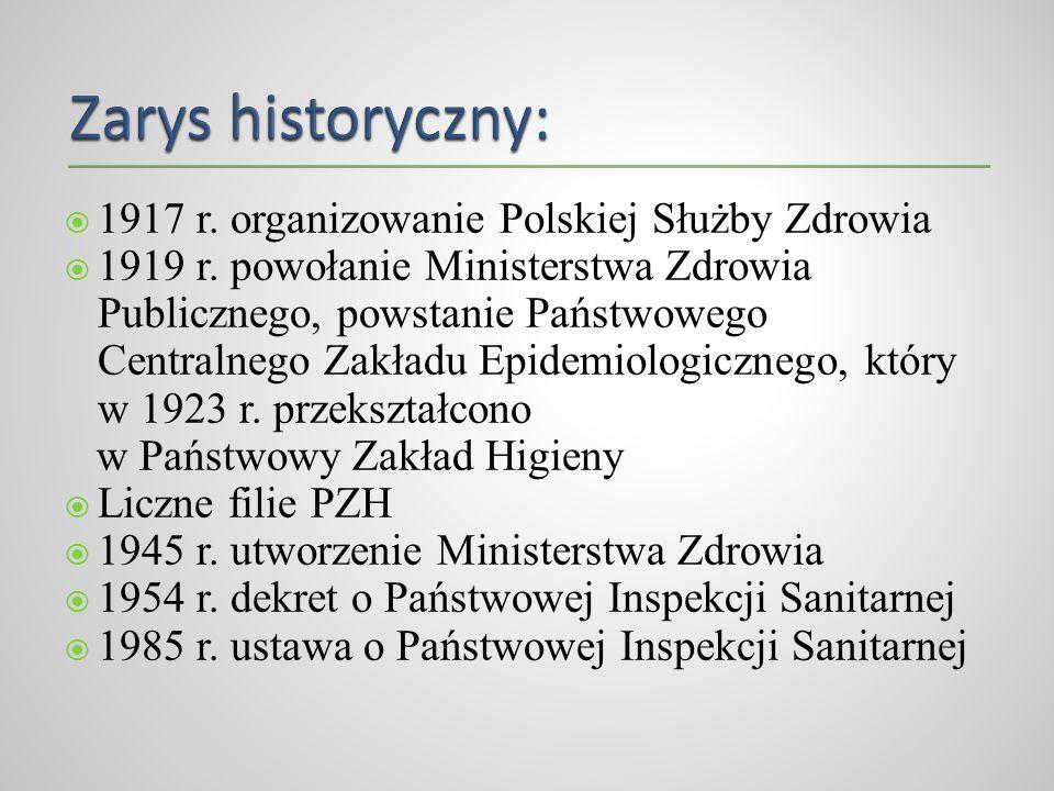 1917 r. organizowanie Polskiej Służby Zdrowia 1919 r. powołanie Ministerstwa Zdrowia Publicznego, powstanie Państwowego Centralnego Zakładu Epidemiolo