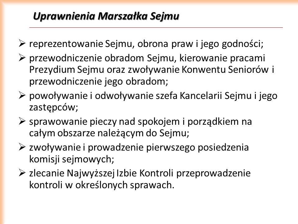 Uprawnienia Marszałka Sejmu reprezentowanie Sejmu, obrona praw i jego godności; przewodniczenie obradom Sejmu, kierowanie pracami Prezydium Sejmu oraz