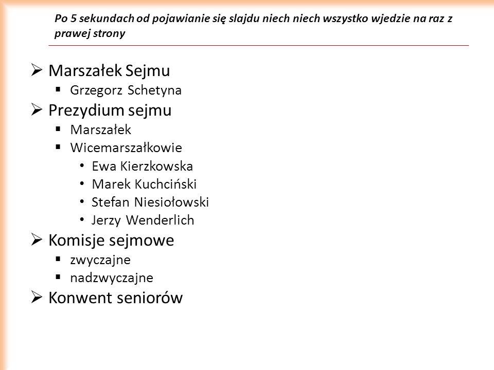 Po 5 sekundach od pojawianie się slajdu niech niech wszystko wjedzie na raz z prawej strony Marszałek Sejmu Grzegorz Schetyna Prezydium sejmu Marszałe