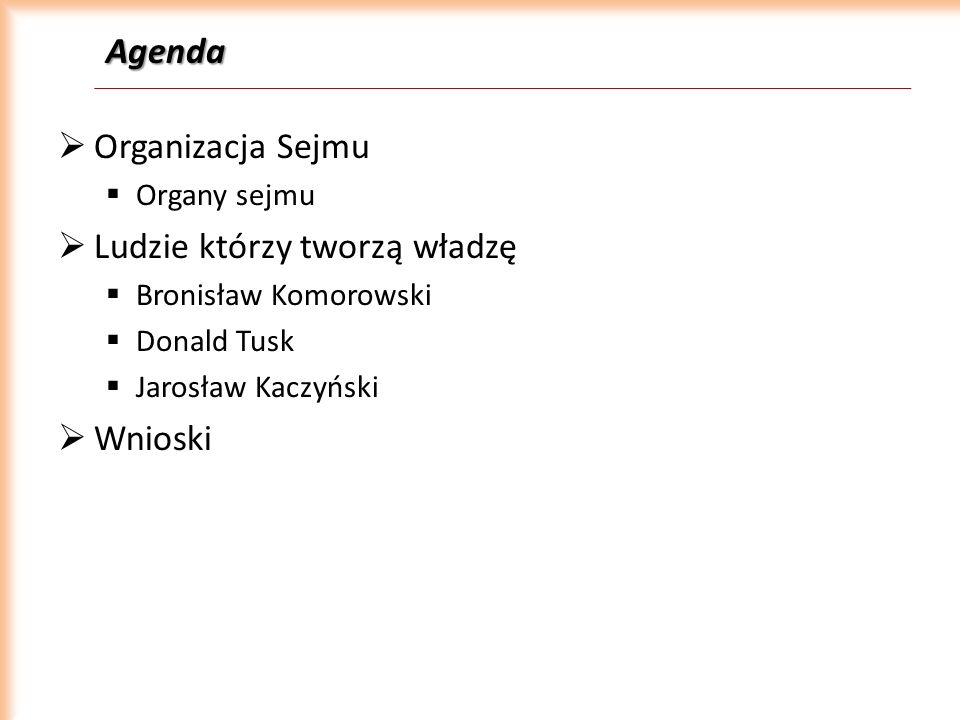 Agenda Organizacja Sejmu Organy sejmu Ludzie którzy tworzą władzę Bronisław Komorowski Donald Tusk Jarosław Kaczyński Wnioski