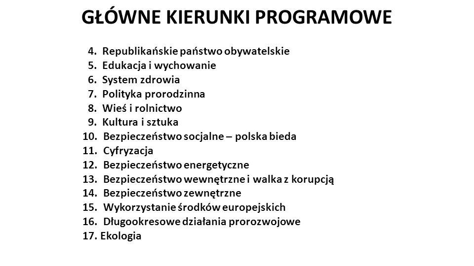 GŁÓWNE KIERUNKI PROGRAMOWE 4. Republikańskie państwo obywatelskie 5.
