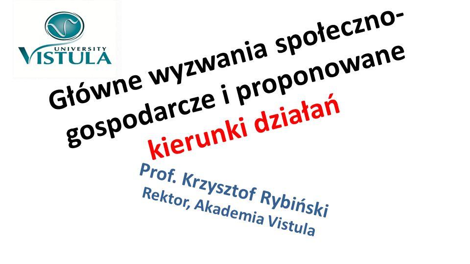 Główne wyzwania społeczno- gospodarcze i proponowane kierunki działań Prof. Krzysztof Rybiński Rektor, Akademia Vistula