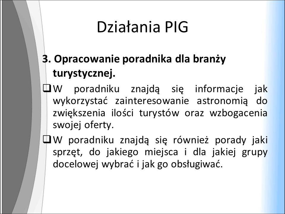 Działania PIG 3. Opracowanie poradnika dla branży turystycznej.