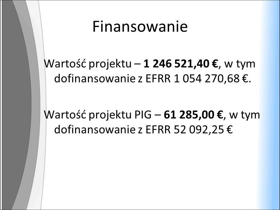 Finansowanie Wartość projektu – 1 246 521,40, w tym dofinansowanie z EFRR 1 054 270,68.