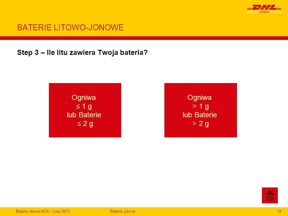 Baterie litowe IATA | Luty 2013Baterie Litowe14 BATERIE LITOWO-JONOWE Step 3 – Ile litu zawiera Twoja bateria? Ogniwa 1 g lub Baterie 2 g Ogniwa > 1 g