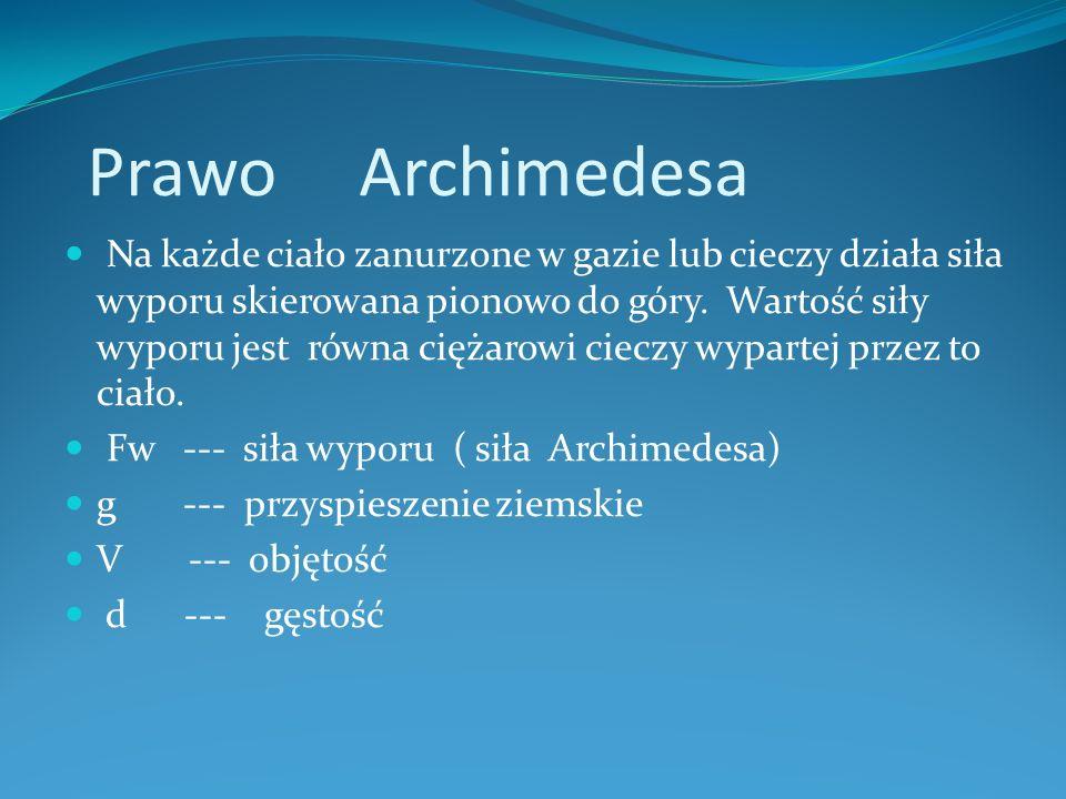 Prawo Archimedesa Na każde ciało zanurzone w gazie lub cieczy działa siła wyporu skierowana pionowo do góry.