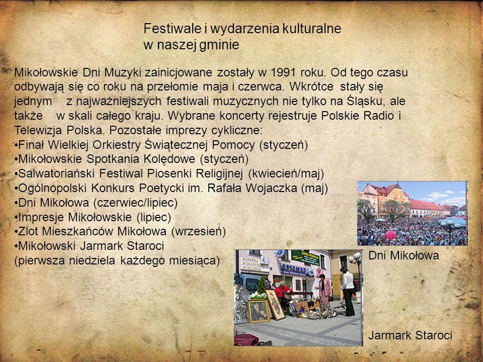 Festiwale i wydarzenia kulturalne w naszej gminie Mikołowskie Dni Muzyki zainicjowane zostały w 1991 roku. Od tego czasu odbywają się co roku na przeł