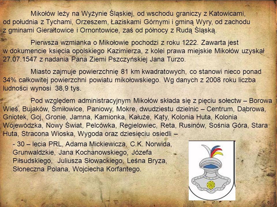 Mikołów leży na Wyżynie Śląskiej, od wschodu graniczy z Katowicami, od południa z Tychami, Orzeszem, Łaziskami Górnymi i gminą Wyry, od zachodu z gmin