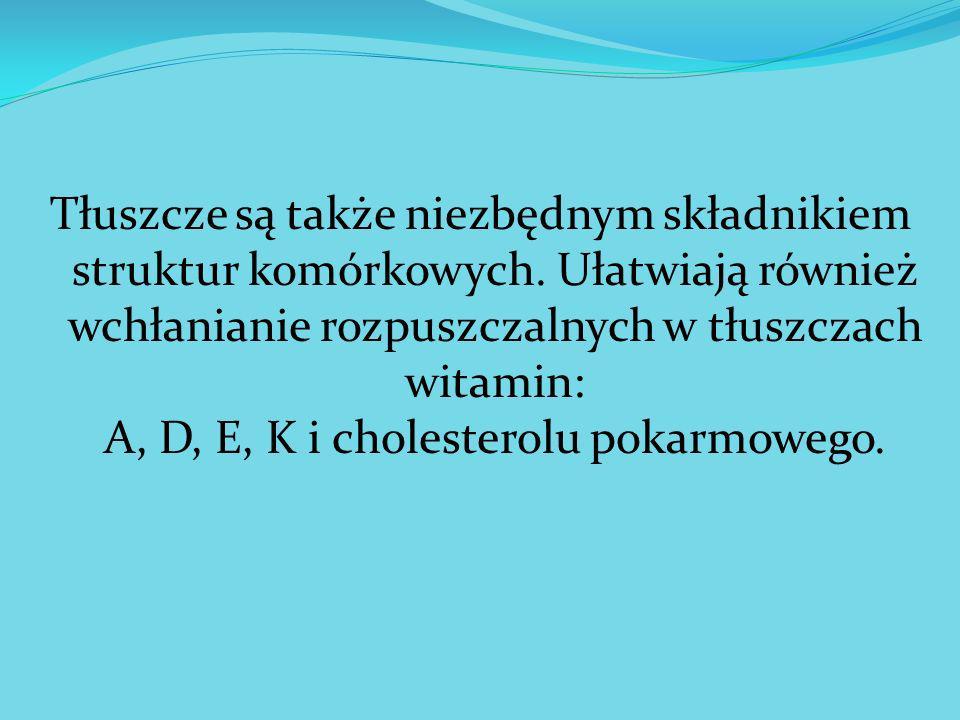 Tłuszcze są także niezbędnym składnikiem struktur komórkowych. Ułatwiają również wchłanianie rozpuszczalnych w tłuszczach witamin: A, D, E, K i choles