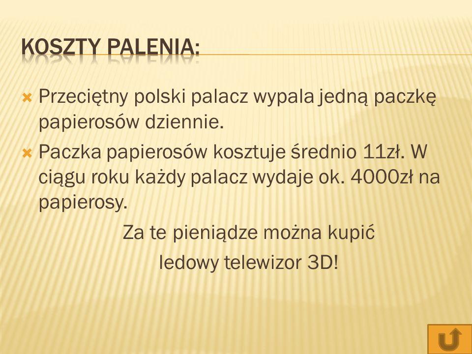 Przeciętny polski palacz wypala jedną paczkę papierosów dziennie. Paczka papierosów kosztuje średnio 11zł. W ciągu roku każdy palacz wydaje ok. 4000zł