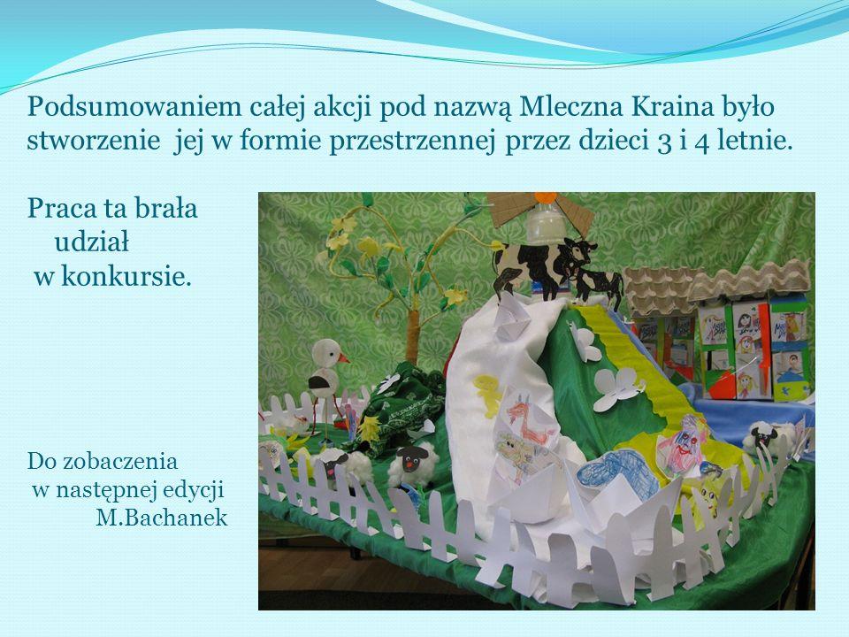 Podsumowaniem całej akcji pod nazwą Mleczna Kraina było stworzenie jej w formie przestrzennej przez dzieci 3 i 4 letnie. Praca ta brała udział w konku