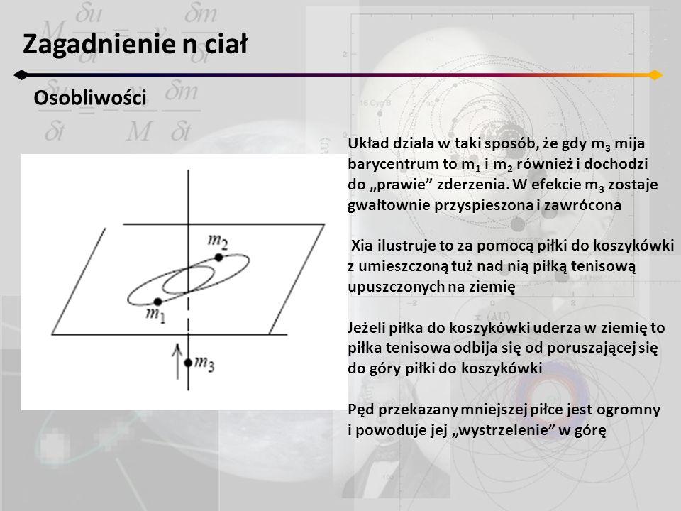 Zagadnienie n ciał Osobliwości Układ działa w taki sposób, że gdy m 3 mija barycentrum to m 1 i m 2 również i dochodzi do prawie zderzenia.