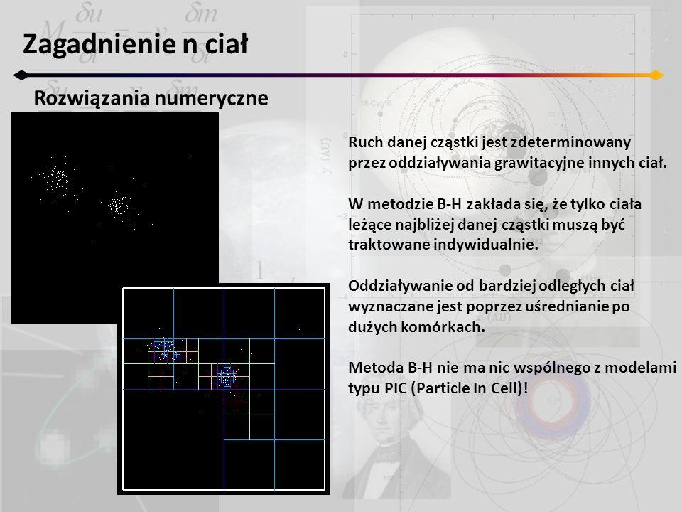 Zagadnienie n ciał Rozwiązania numeryczne Ruch danej cząstki jest zdeterminowany przez oddziaływania grawitacyjne innych ciał.