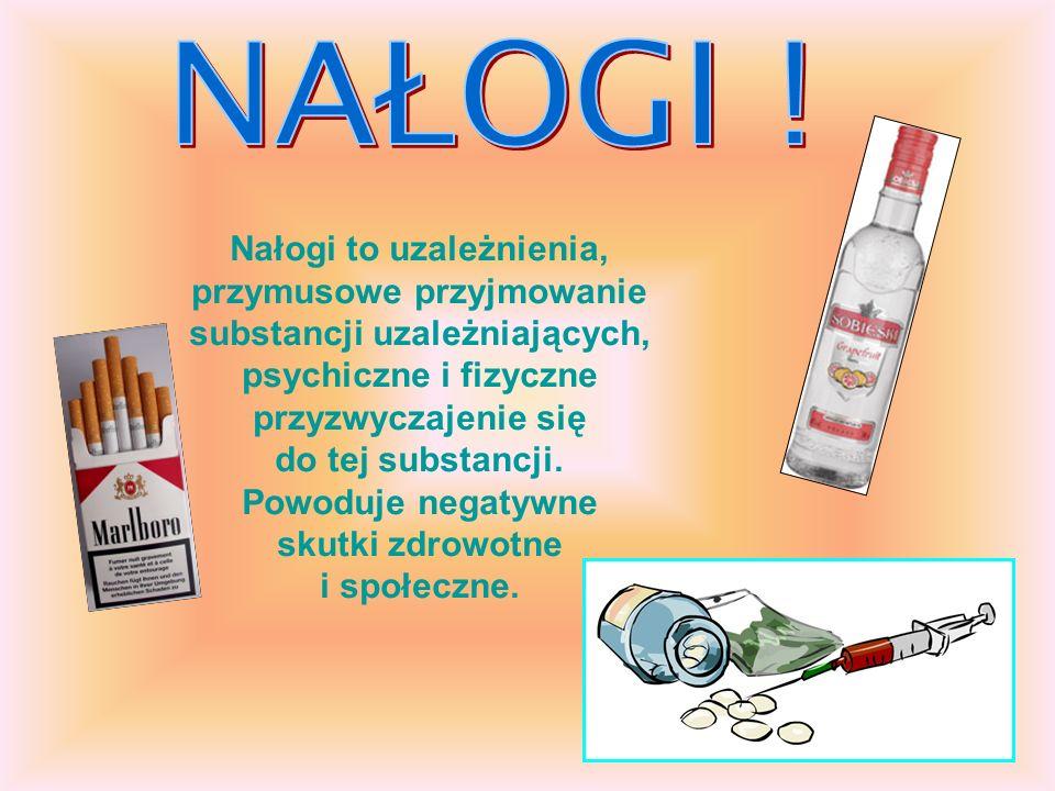 Nałogi to uzależnienia, przymusowe przyjmowanie substancji uzależniających, psychiczne i fizyczne przyzwyczajenie się do tej substancji. Powoduje nega