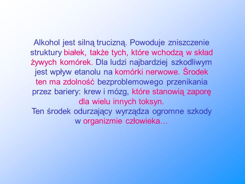 Alkohol jest silną trucizną. Powoduje zniszczenie struktury białek, także tych, które wchodzą w skład żywych komórek. Dla ludzi najbardziej szkodliwym