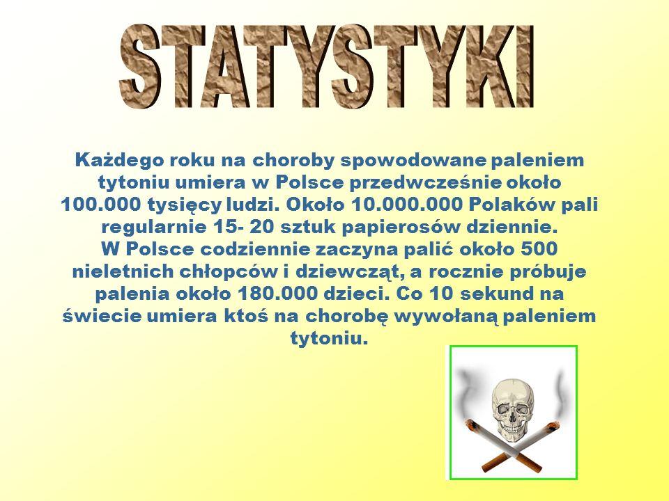 Każdego roku na choroby spowodowane paleniem tytoniu umiera w Polsce przedwcześnie około 100.000 tysięcy ludzi. Około 10.000.000 Polaków pali regularn