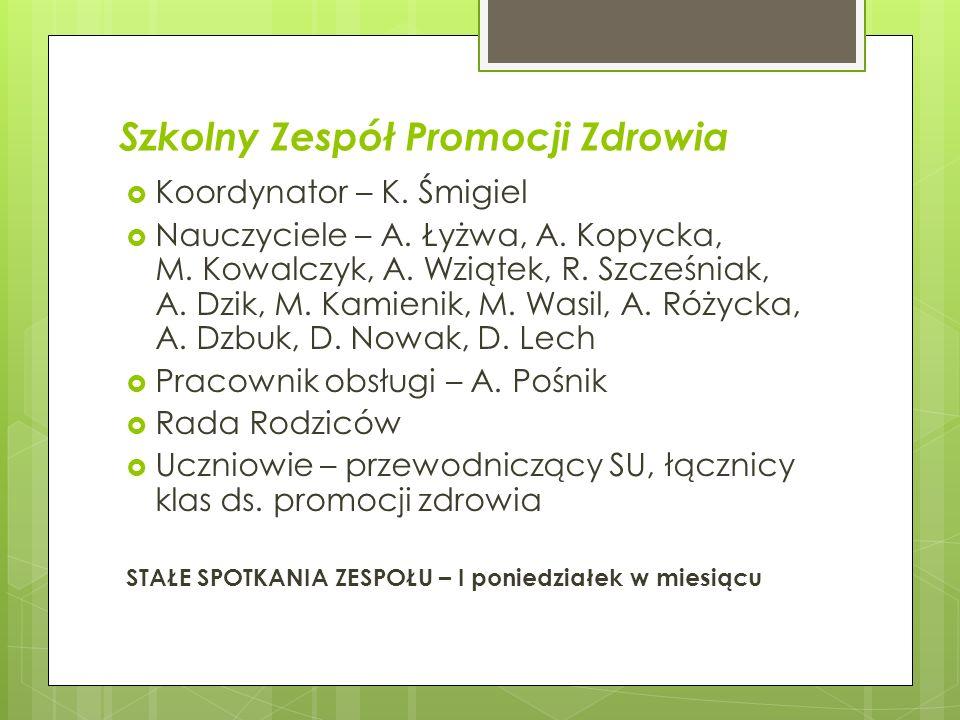 Szkolny Zespół Promocji Zdrowia Koordynator – K. Śmigiel Nauczyciele – A. Łyżwa, A. Kopycka, M. Kowalczyk, A. Wziątek, R. Szcześniak, A. Dzik, M. Kami