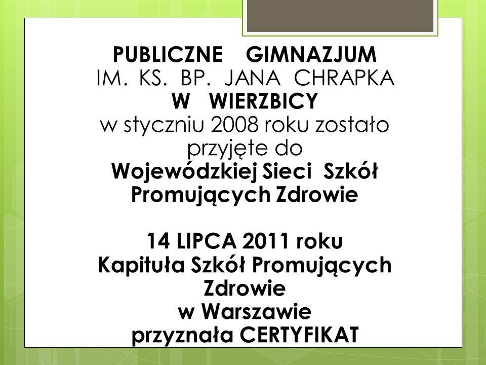 PUBLICZNE GIMNAZJUM IM. KS. BP. JANA CHRAPKA W WIERZBICY w styczniu 2008 roku zostało przyjęte do Wojewódzkiej Sieci Szkół Promujących Zdrowie 14 LIPC