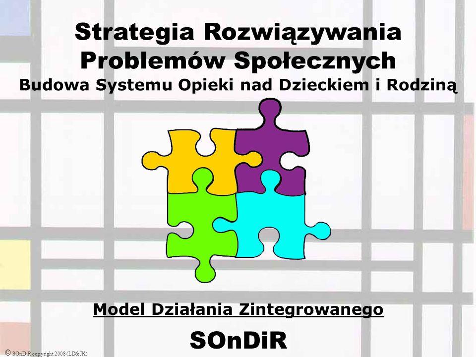 Strategia Rozwiązywania Problemów Społecznych Budowa Systemu Opieki nad Dzieckiem i Rodziną Model Działania Zintegrowanego SOnDiR © SOnDiR copyright 2008 (LD&JK)