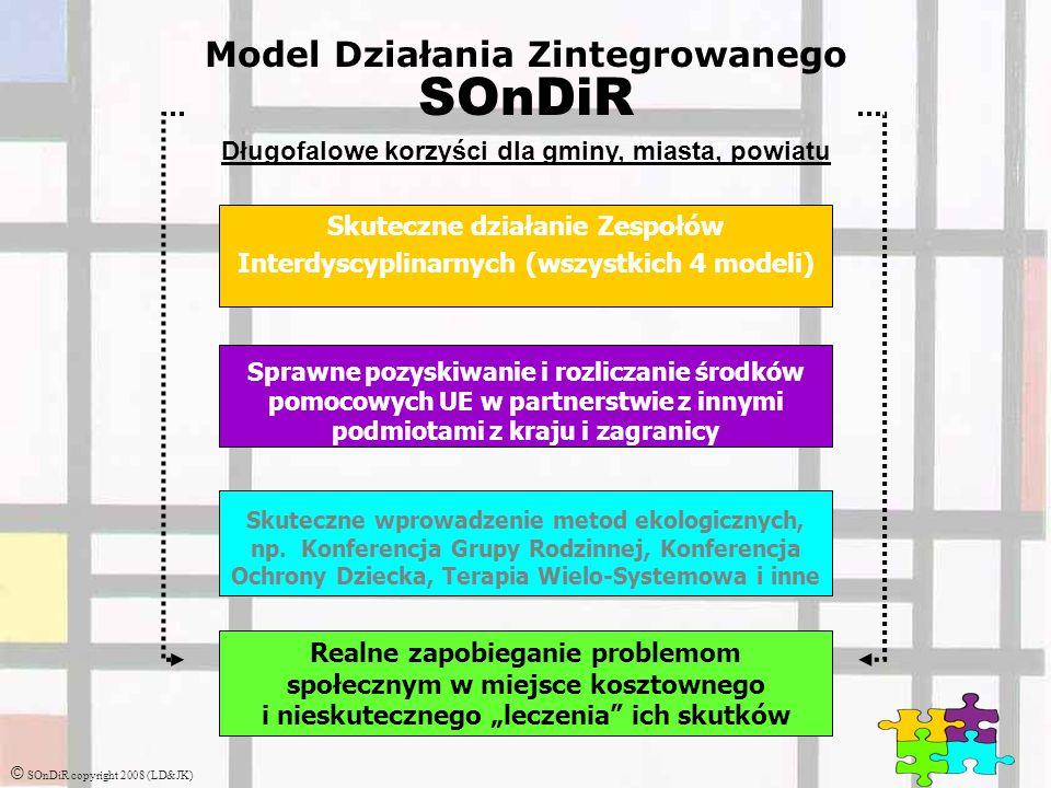 © SOnDiR copyright 2008 (LD&JK) Model Działania Zintegrowanego SOnDiR Długofalowe korzyści dla gminy, miasta, powiatu Skuteczne działanie Zespołów Interdyscyplinarnych (wszystkich 4 modeli) Sprawne pozyskiwanie i rozliczanie środków pomocowych UE w partnerstwie z innymi podmiotami z kraju i zagranicy Skuteczne wprowadzenie metod ekologicznych, np.