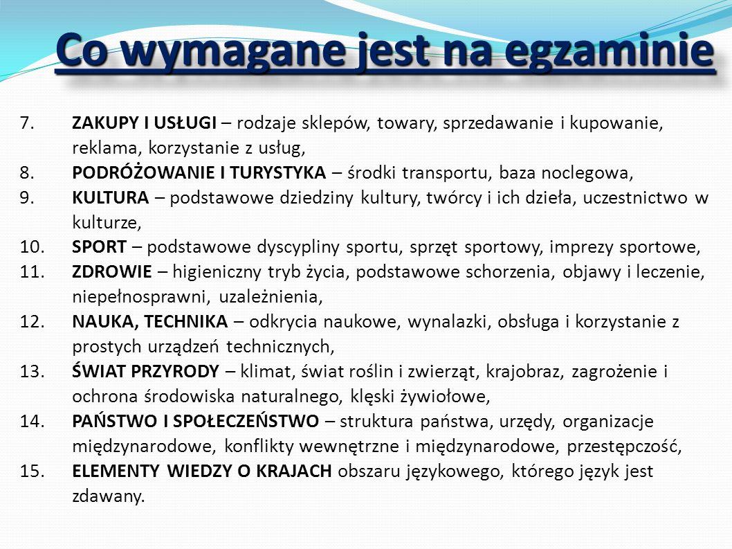 SPRAWNOŚCI JĘZYKOWE 1.ROZUMIENIE ZE SŁUCHU tekstu prostego pod względem treści i o niskim stopniu zróżnicowania struktur leksykalno-gramatycznych, 2.