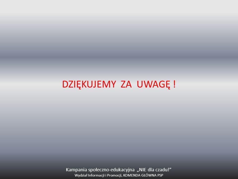 DZIĘKUJEMY ZA UWAGĘ ! Kampania społeczno-edukacyjna NIE dla czadu! Wydział Informacji i Promocji, KOMENDA GŁÓWNA PSP