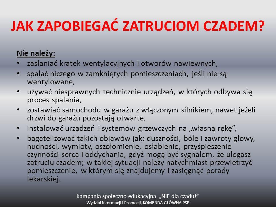 Kampania społeczno-edukacyjna NIE dla czadu! Wydział Informacji i Promocji, KOMENDA GŁÓWNA PSP