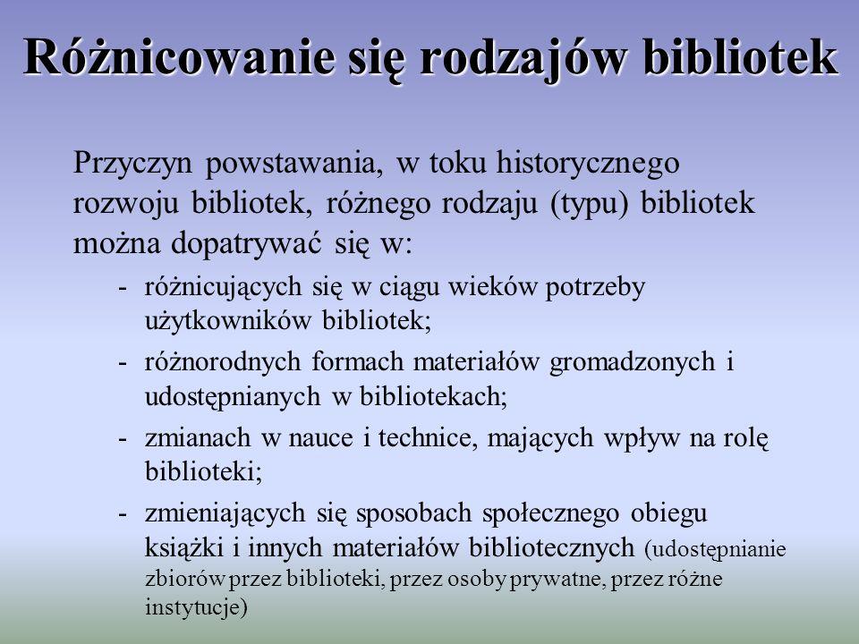 Podział bibliotek Podziału bibliotek można dokonać w różnych kategoriach, uzależnionych od tego, co bierzemy pod uwagę, dzieląc biblioteki na różne typy.