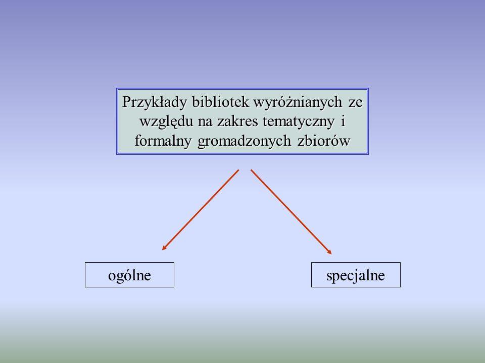 Przykłady bibliotek wyróżnianych ze względu na zakres tematyczny i formalny gromadzonych zbiorów ogólnespecjalne
