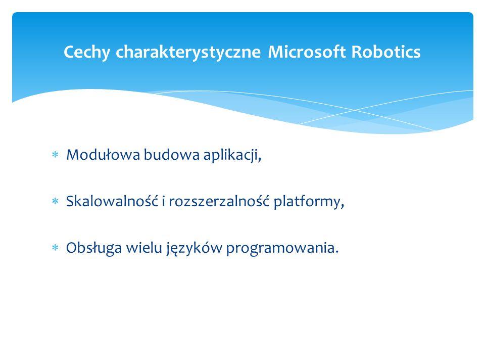 Modułowa budowa aplikacji, Skalowalność i rozszerzalność platformy, Obsługa wielu języków programowania. Cechy charakterystyczne Microsoft Robotics