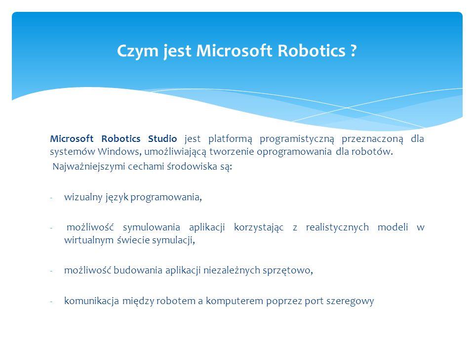 Podstawowymi komponentami budującymi Microsoft Robotics są : Runtime Services Decentralized Software Services (DSS) Coordination and Concurency Runtime (CCR) Common Language Runtime (CLR) Środowisko Microsoft Robotics