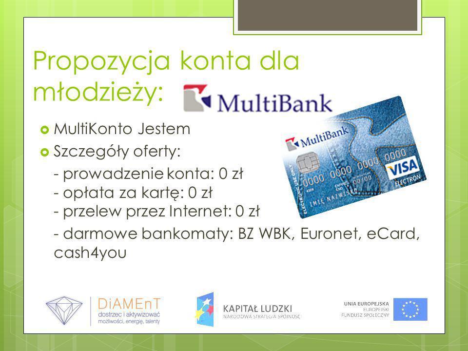 Propozycja konta dla młodzieży: MultiKonto Jestem Szczegóły oferty: - prowadzenie konta: 0 zł - opłata za kartę: 0 zł - przelew przez Internet: 0 zł -